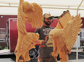 Eagles in Tree Chainsaw Carving