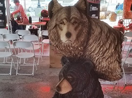 Bear and Wolf Chainsaw Carvings