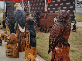 Eagle and Owl Chaisaw Carvings